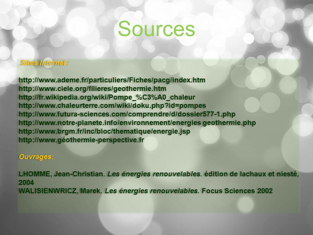 Sources Sites Internet :