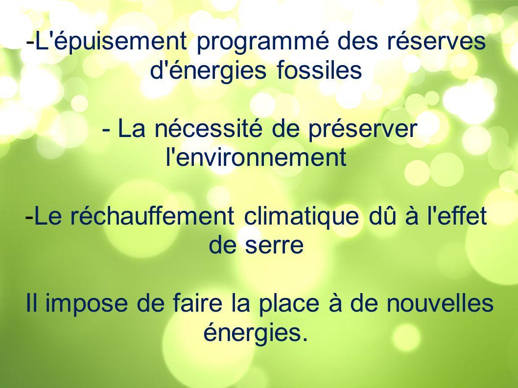 L épuisement programmé des réserves d énergies fossiles