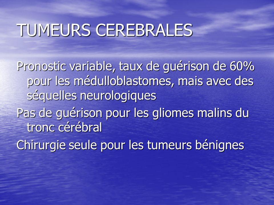 TUMEURS CEREBRALESPronostic variable, taux de guérison de 60% pour les médulloblastomes, mais avec des séquelles neurologiques.