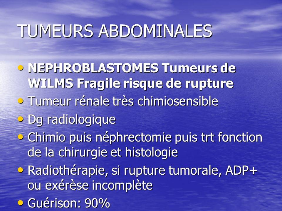 TUMEURS ABDOMINALESNEPHROBLASTOMES Tumeurs de WILMS Fragile risque de rupture. Tumeur rénale très chimiosensible.