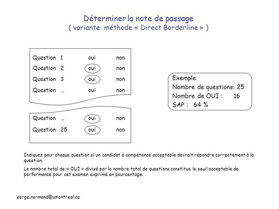 Déterminer la note de passage ( variante: méthode « Direct Borderline » )