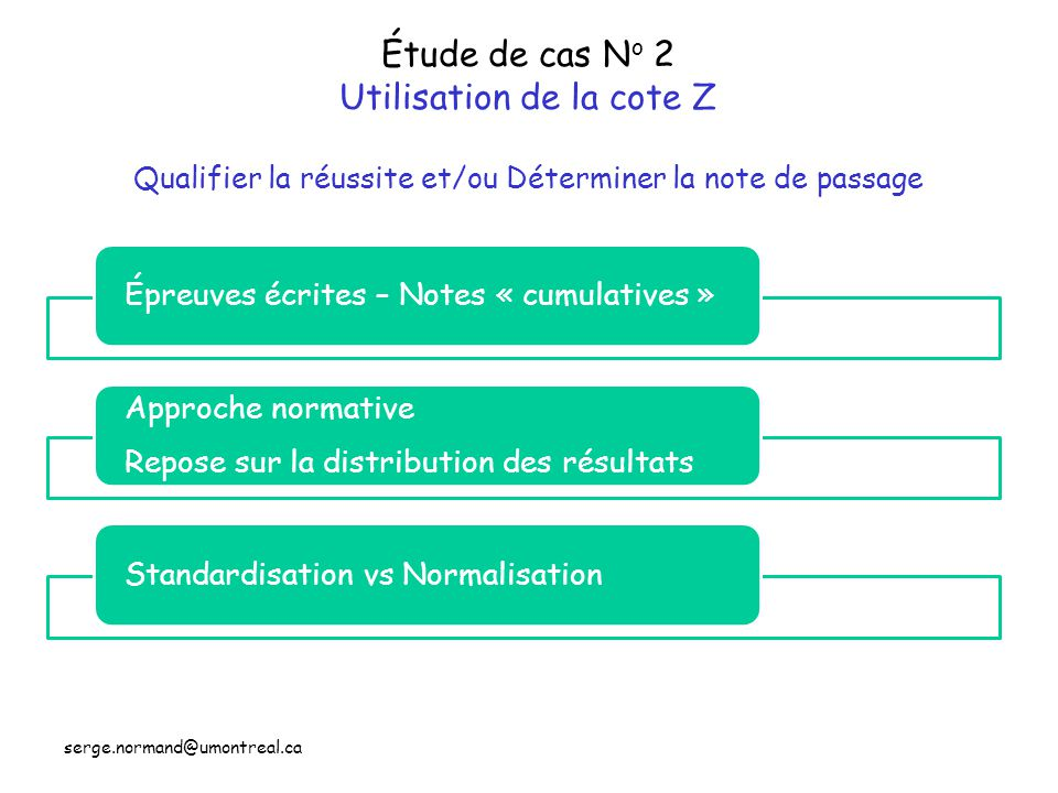 Étude de cas No 2 Utilisation de la cote Z Qualifier la réussite et/ou Déterminer la note de passage