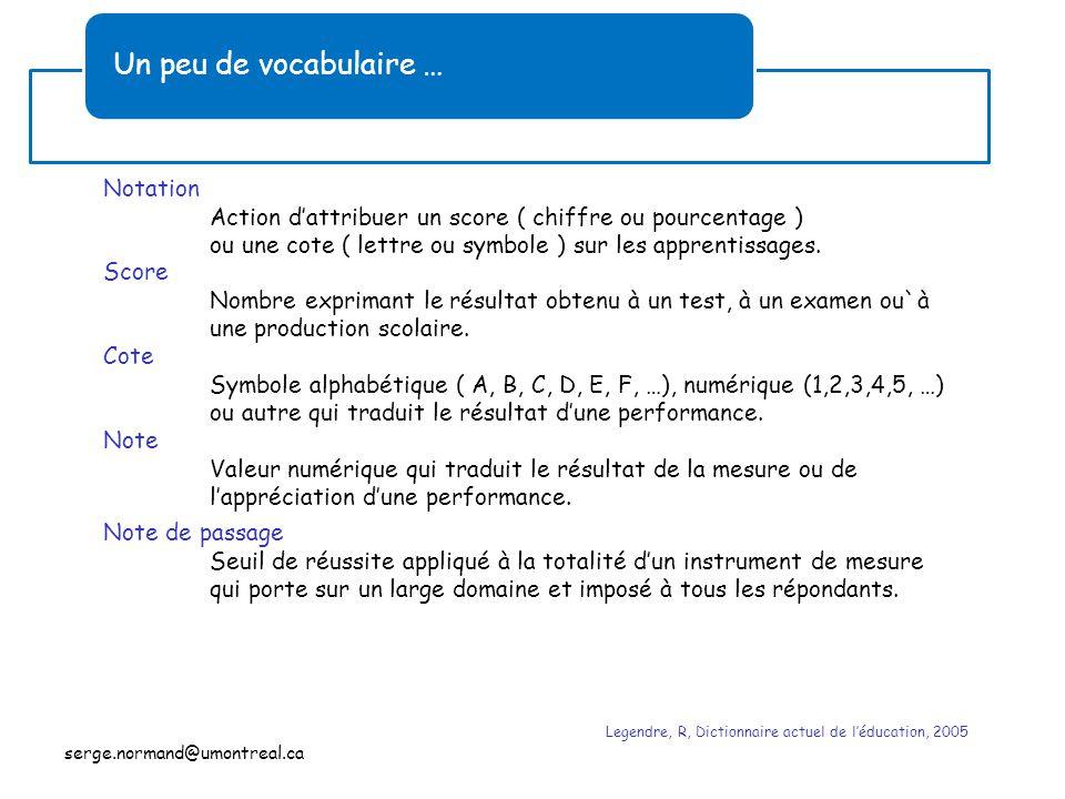 Un peu de vocabulaire … Notation