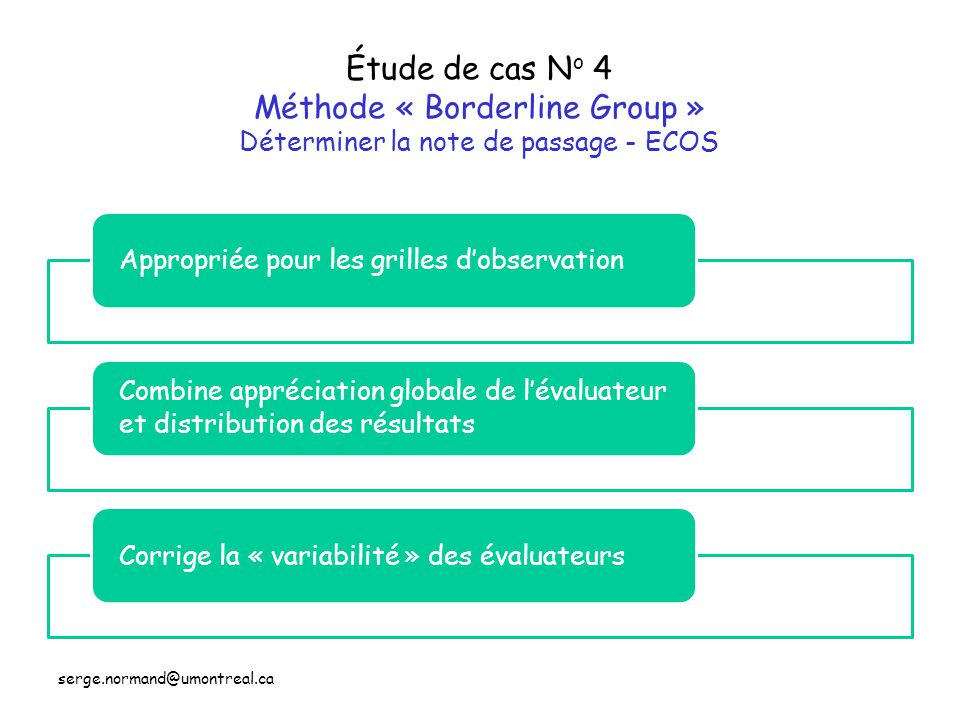 Étude de cas No 4 Méthode « Borderline Group » Déterminer la note de passage - ECOS
