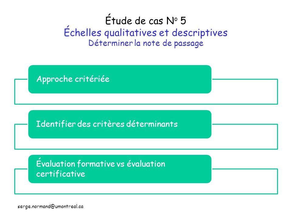 Étude de cas No 5 Échelles qualitatives et descriptives Déterminer la note de passage
