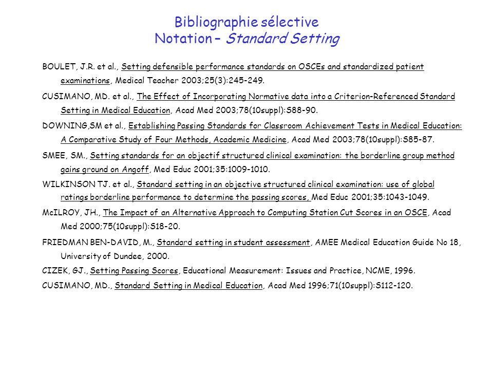 Bibliographie sélective Notation – Standard Setting