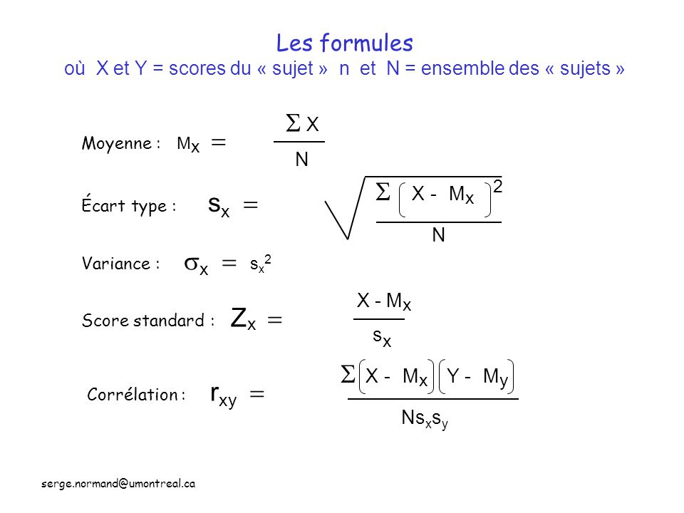 Les formules où X et Y = scores du « sujet » n et N = ensemble des « sujets »