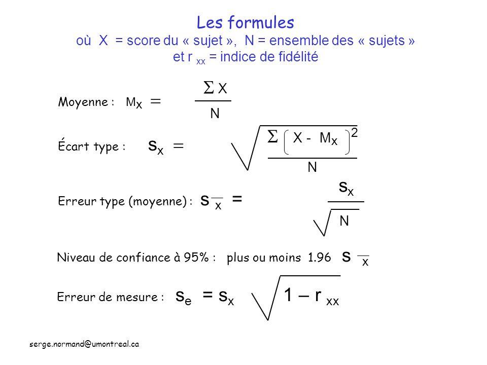 Les formules où X = score du « sujet », N = ensemble des « sujets » et r xx = indice de fidélité
