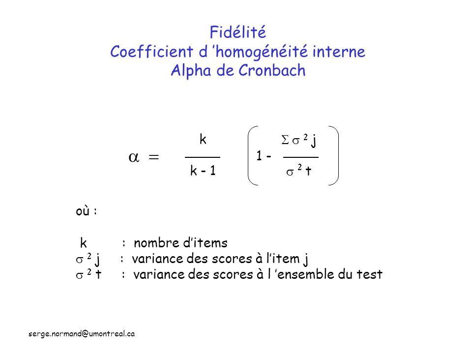 Fidélité Coefficient d 'homogénéité interne Alpha de Cronbach