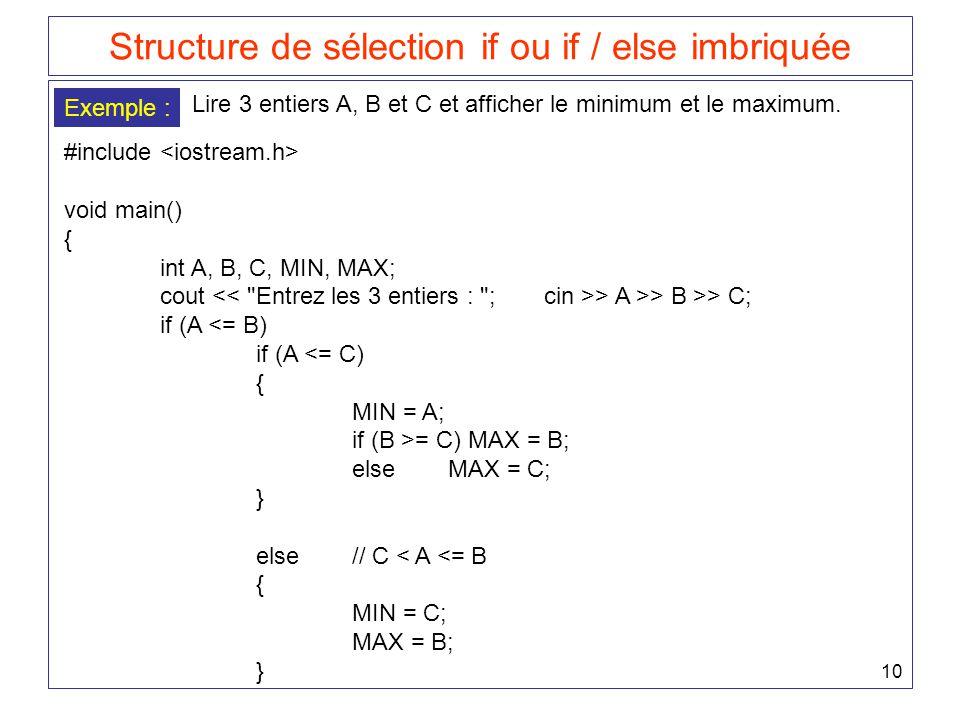 Structure de sélection if ou if / else imbriquée