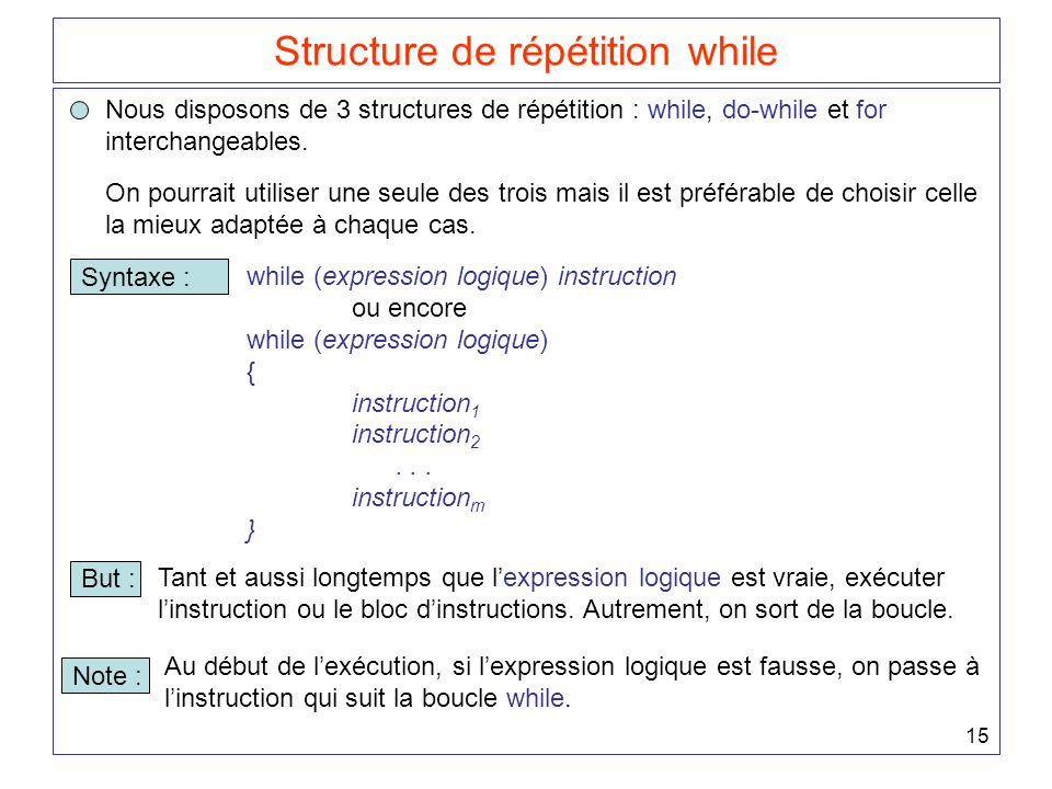Structure de répétition while
