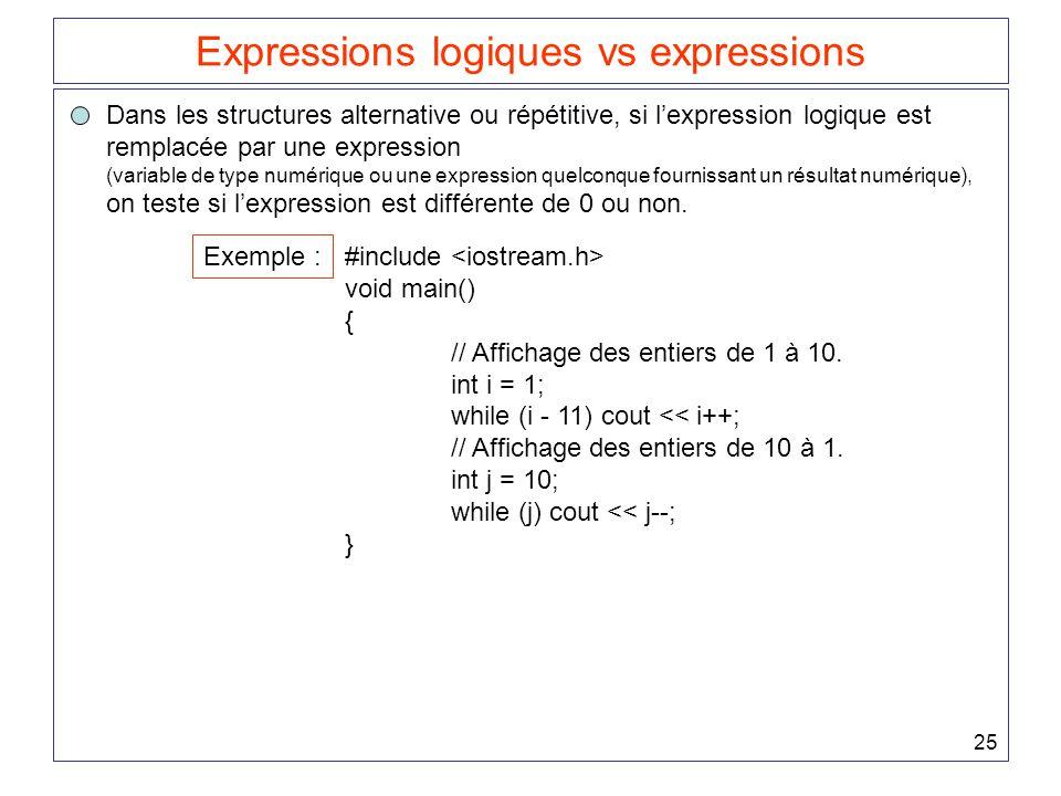 Expressions logiques vs expressions