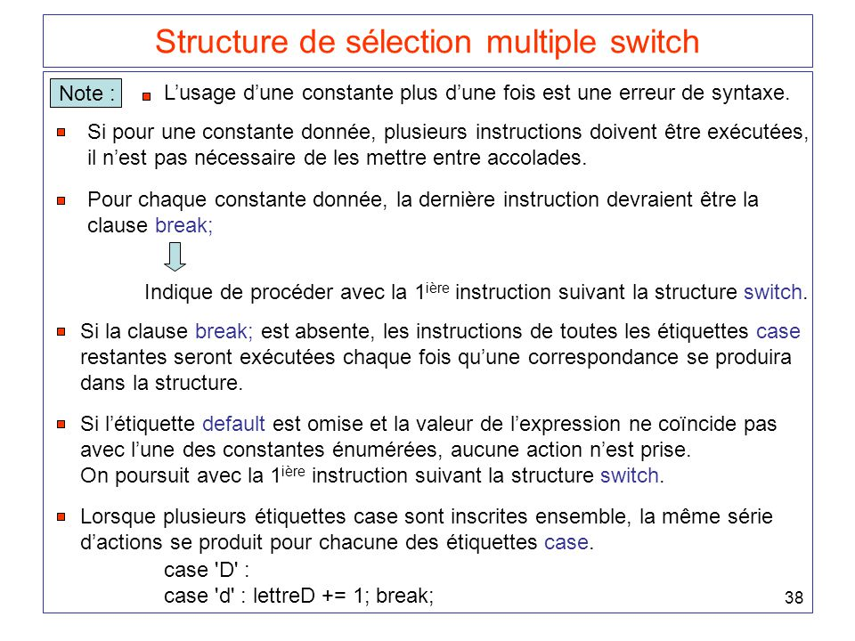 Structure de sélection multiple switch