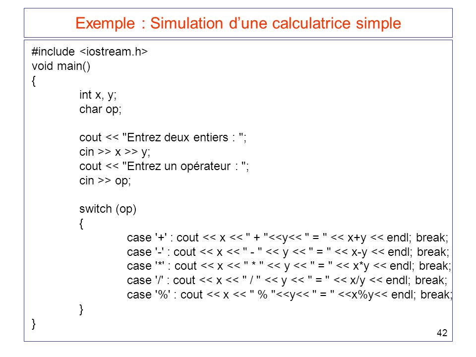 Exemple : Simulation d'une calculatrice simple