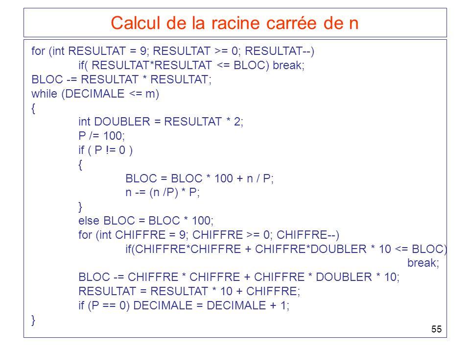 Calcul de la racine carrée de n