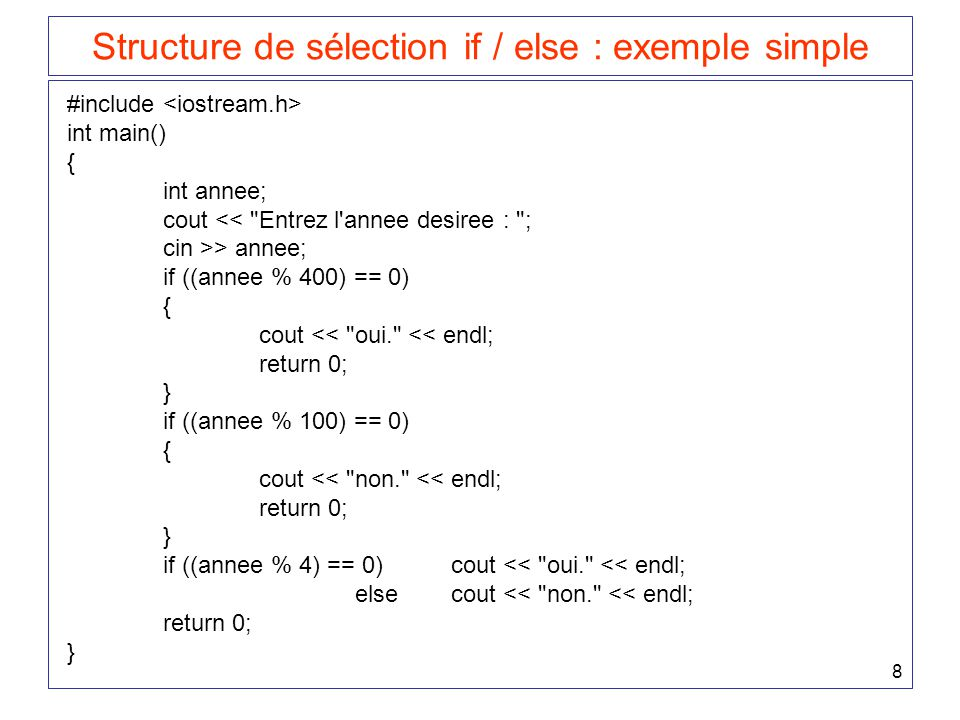 Structure de sélection if / else : exemple simple