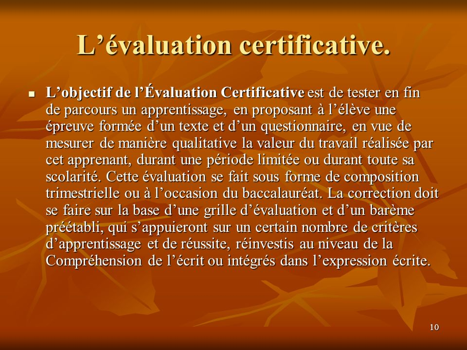 L'évaluation certificative.