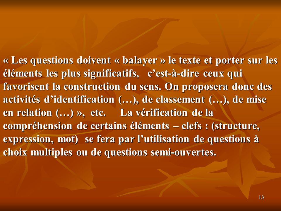 « Les questions doivent « balayer » le texte et porter sur les éléments les plus significatifs, c'est-à-dire ceux qui favorisent la construction du sens.