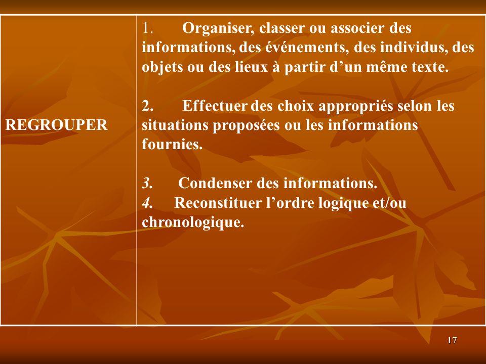 REGROUPER1. Organiser, classer ou associer des informations, des événements, des individus, des objets ou des lieux à partir d'un même texte.
