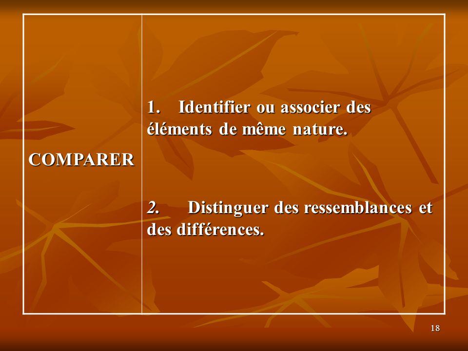 COMPARER 1. Identifier ou associer des éléments de même nature.