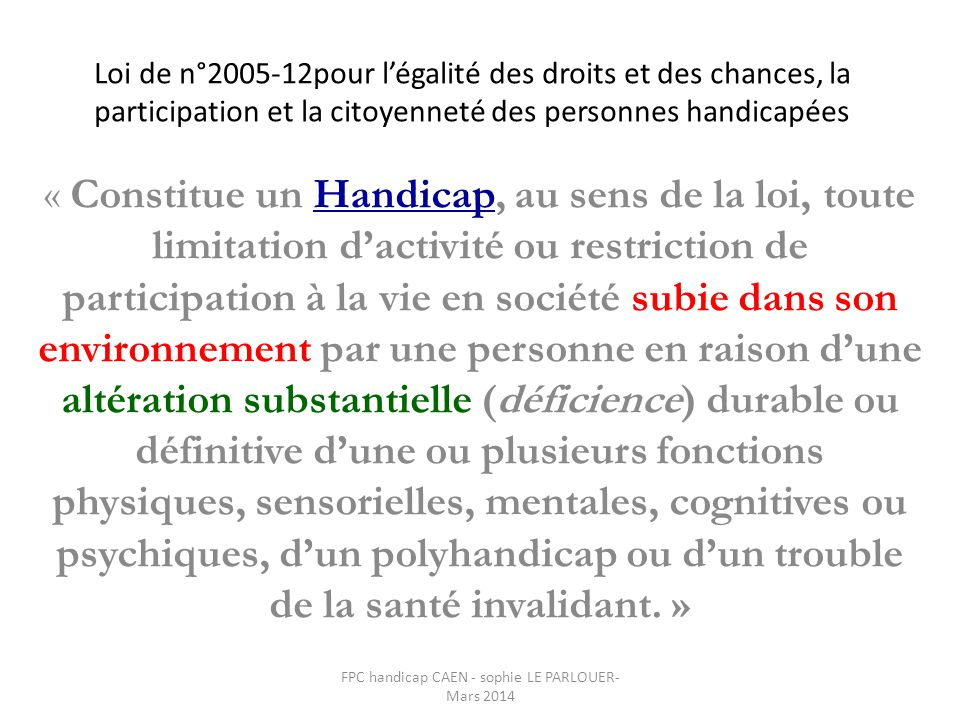 FPC handicap CAEN - sophie LE PARLOUER- Mars 2014