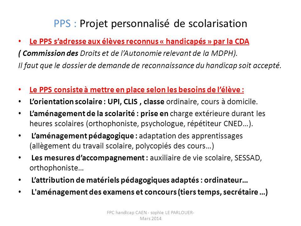 PPS : Projet personnalisé de scolarisation