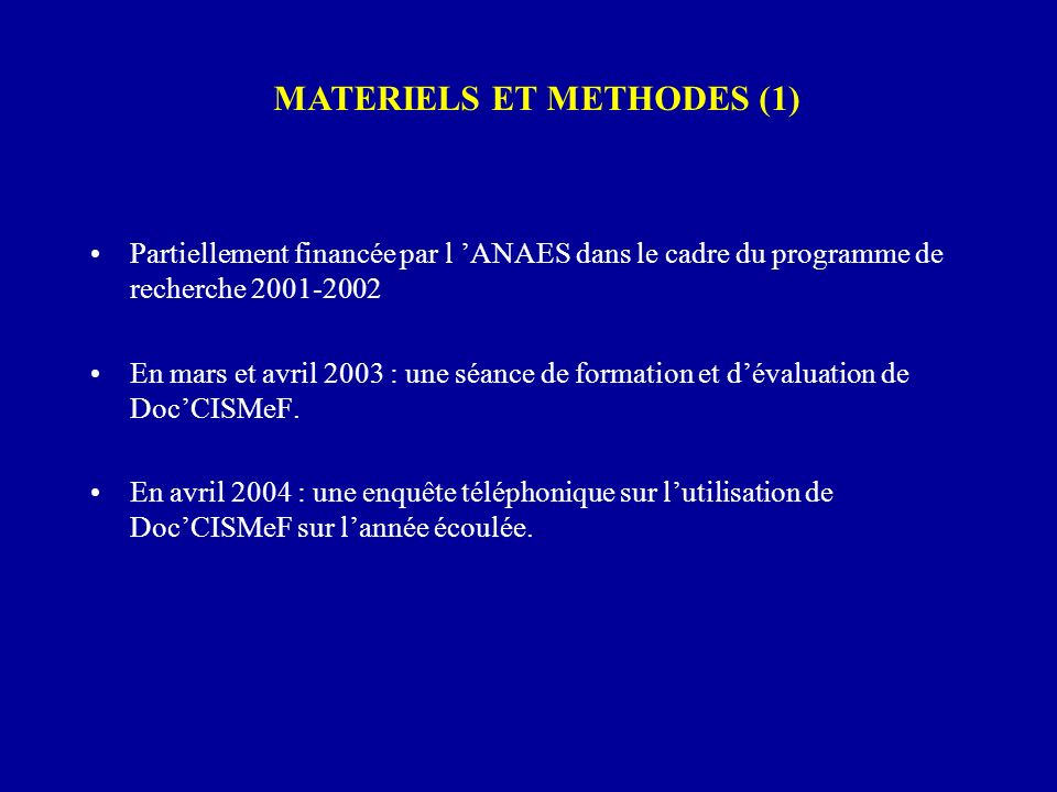 MATERIELS ET METHODES (1)