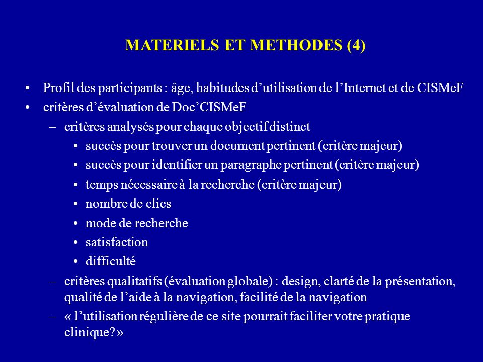 MATERIELS ET METHODES (4)