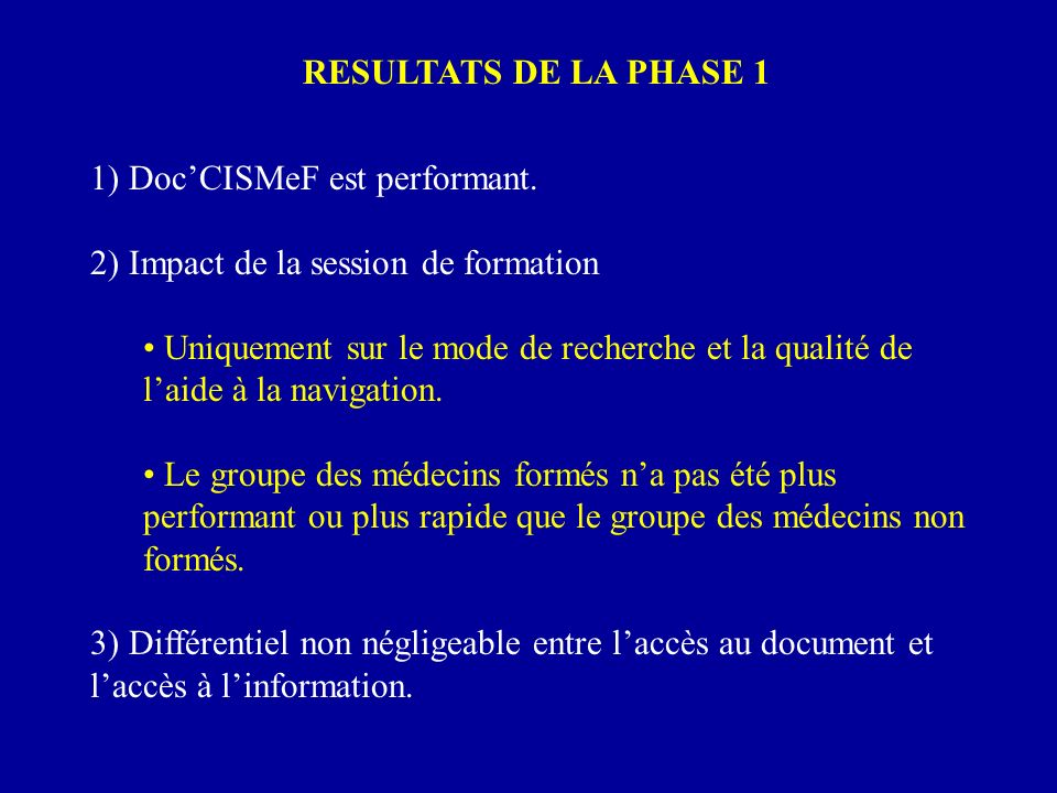 RESULTATS DE LA PHASE 1 1) Doc'CISMeF est performant. 2) Impact de la session de formation.