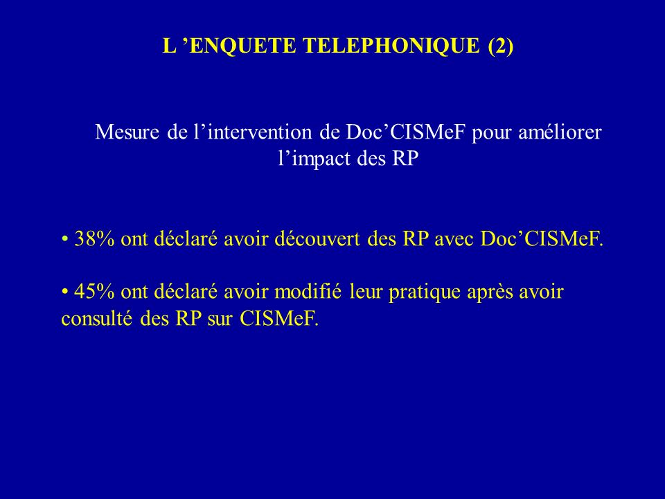 L 'ENQUETE TELEPHONIQUE (2)