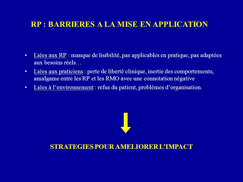 RP : BARRIERES A LA MISE EN APPLICATION