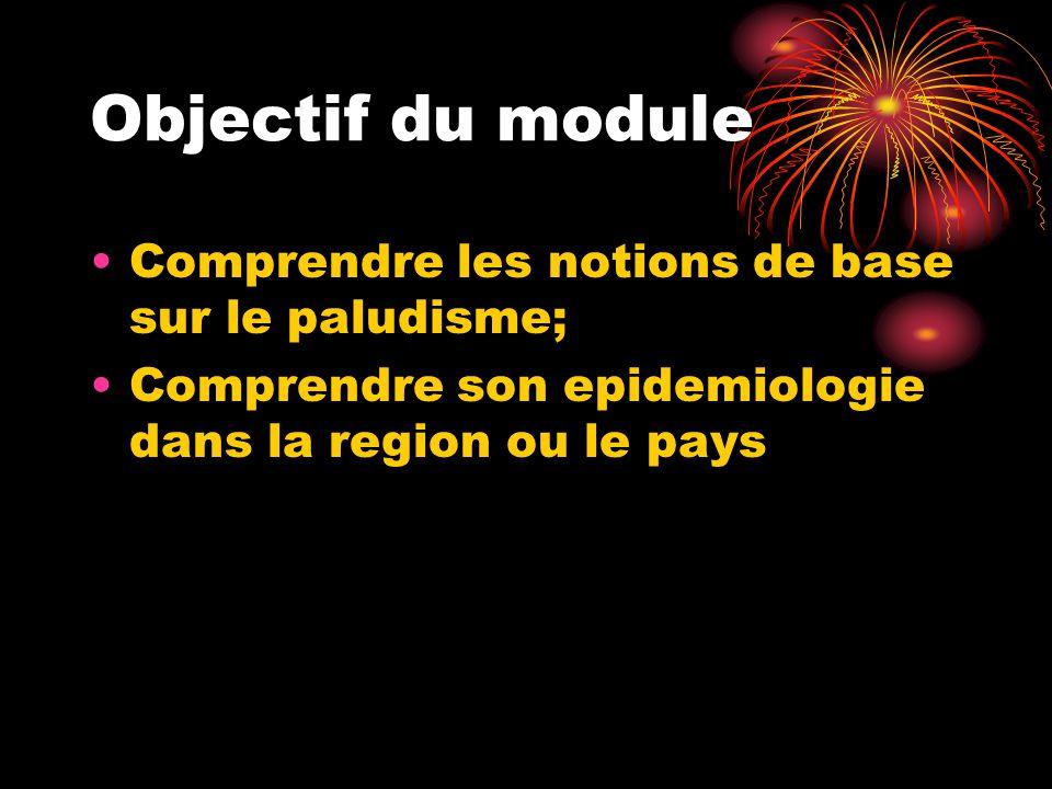 Objectif du module Comprendre les notions de base sur le paludisme;