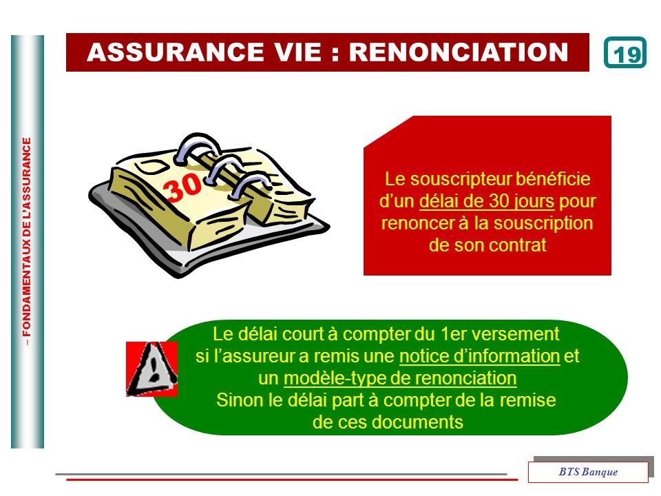 30 ASSURANCE VIE : RENONCIATION 19 Le souscripteur bénéficie