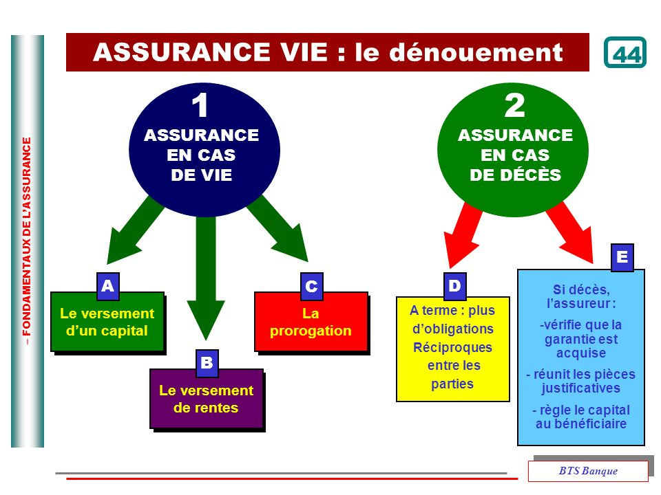 1 ASSURANCE 2 ASSURANCE VIE : le dénouement 44 EN CAS DE VIE ASSURANCE