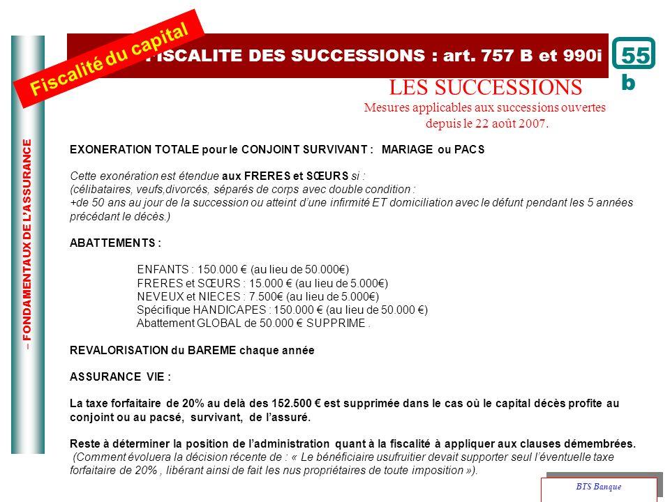 FISCALITE DES SUCCESSIONS : art. 757 B et 990i