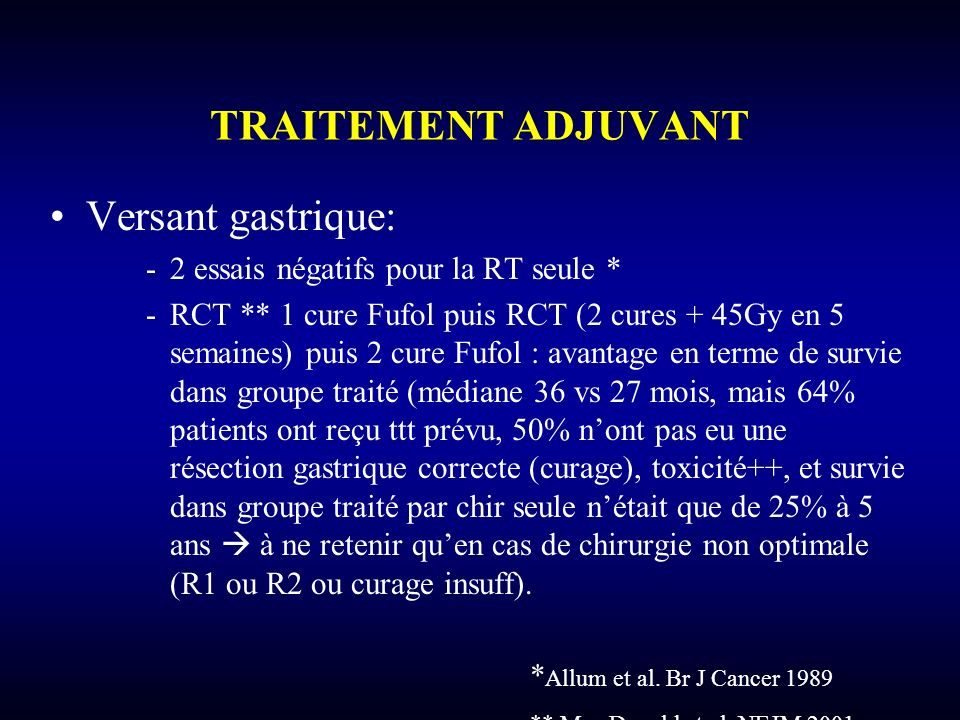 TRAITEMENT ADJUVANT Versant gastrique: