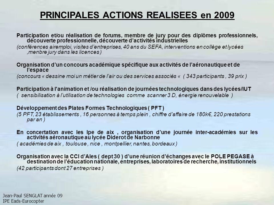 PRINCIPALES ACTIONS REALISEES en 2009