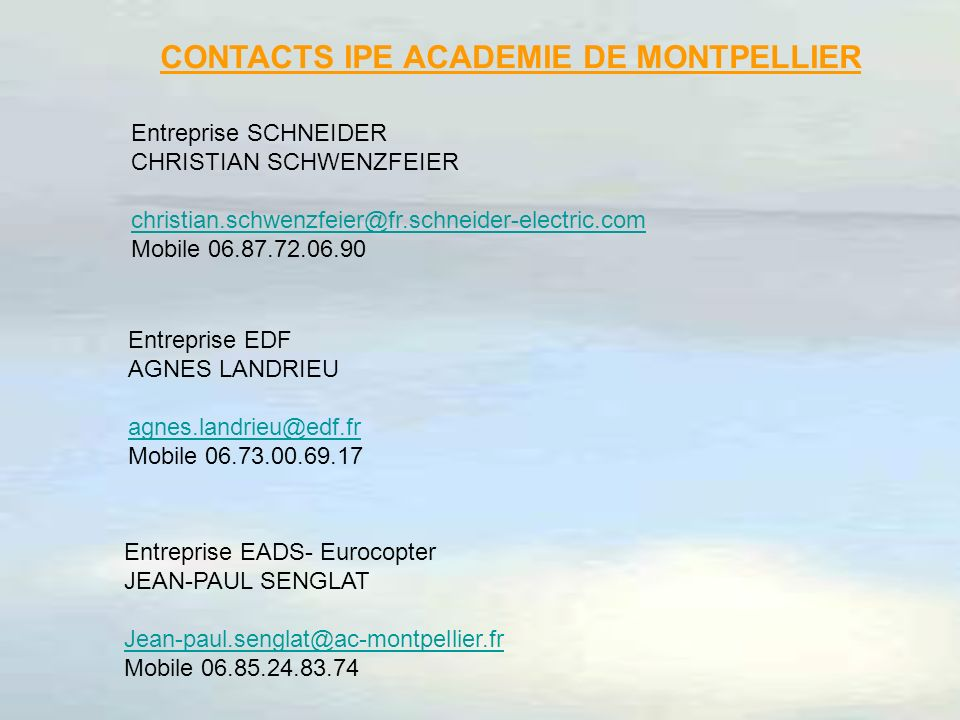 CONTACTS IPE ACADEMIE DE MONTPELLIER