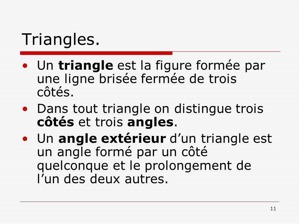 Triangles. Un triangle est la figure formée par une ligne brisée fermée de trois côtés. Dans tout triangle on distingue trois côtés et trois angles.