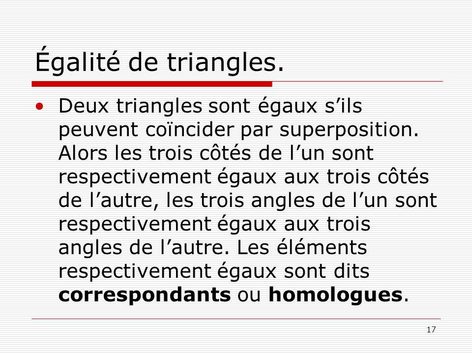 Égalité de triangles.