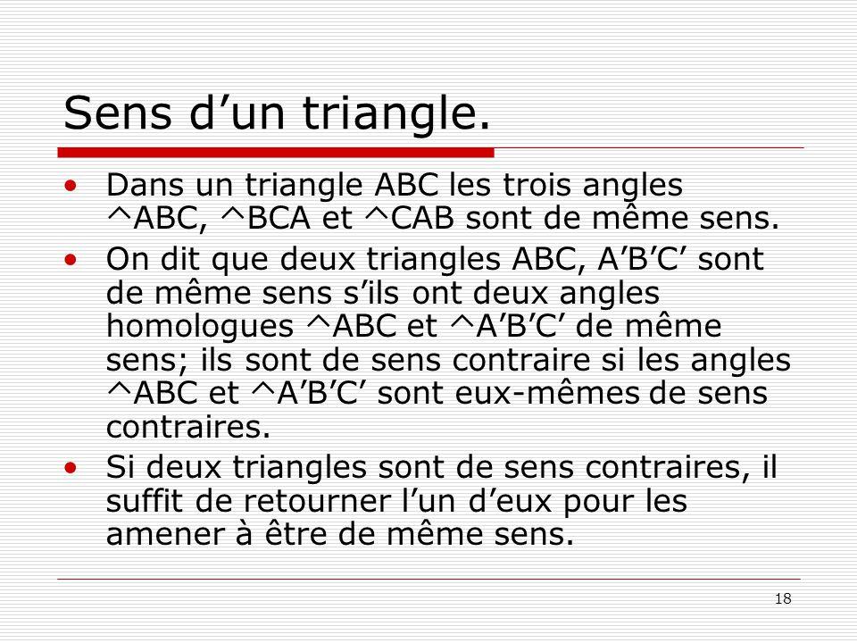 Sens d'un triangle. Dans un triangle ABC les trois angles TABC, TBCA et TCAB sont de même sens.