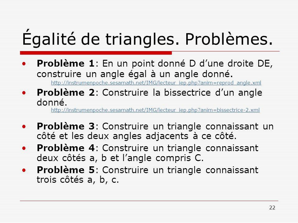 Égalité de triangles. Problèmes.
