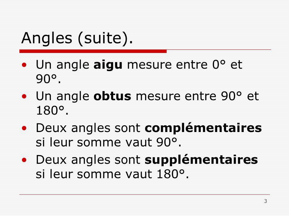 Angles (suite). Un angle aigu mesure entre 0° et 90°.