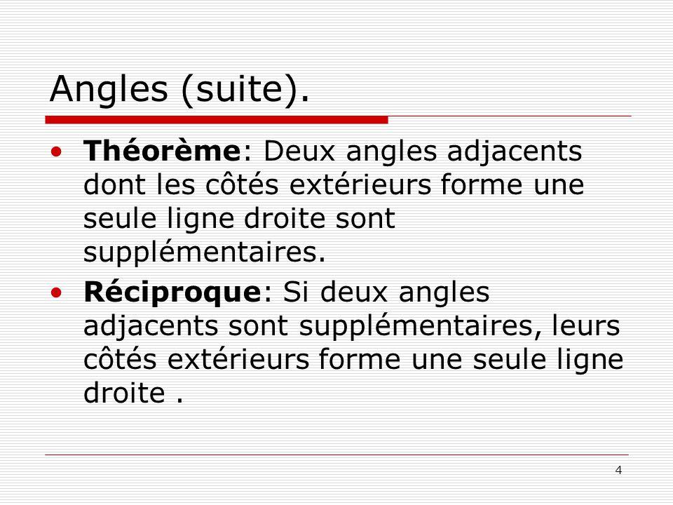 Angles (suite). Théorème: Deux angles adjacents dont les côtés extérieurs forme une seule ligne droite sont supplémentaires.