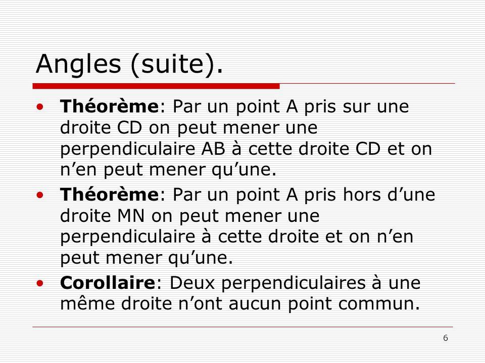 Angles (suite). Théorème: Par un point A pris sur une droite CD on peut mener une perpendiculaire AB à cette droite CD et on n'en peut mener qu'une.