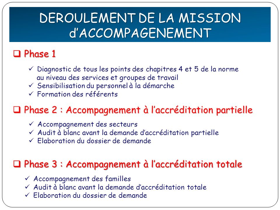 DEFINITION de la QUALITE DEROULEMENT DE LA MISSION d'ACCOMPAGENEMENT