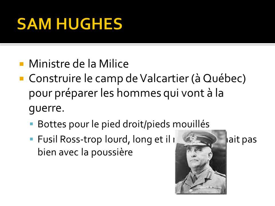 SAM HUGHES Ministre de la Milice