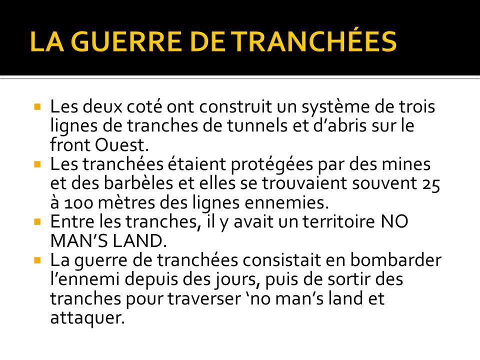 LA GUERRE DE TRANCHÉES Les deux coté ont construit un système de trois lignes de tranches de tunnels et d'abris sur le front Ouest.