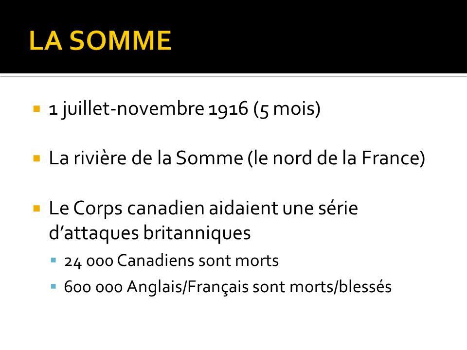 LA SOMME 1 juillet-novembre 1916 (5 mois)