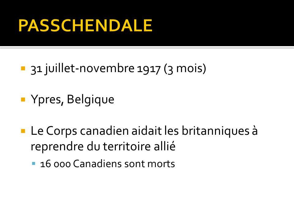 PASSCHENDALE 31 juillet-novembre 1917 (3 mois) Ypres, Belgique
